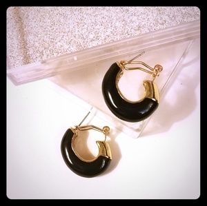 Gold and Black Statement Hoops